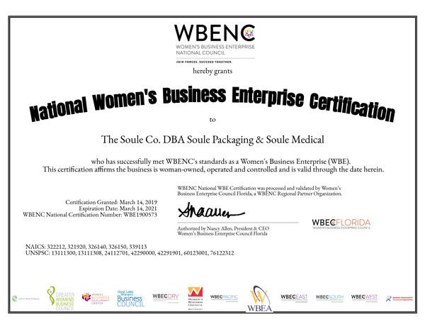 Soule Packaging WBENC 2020 Certification